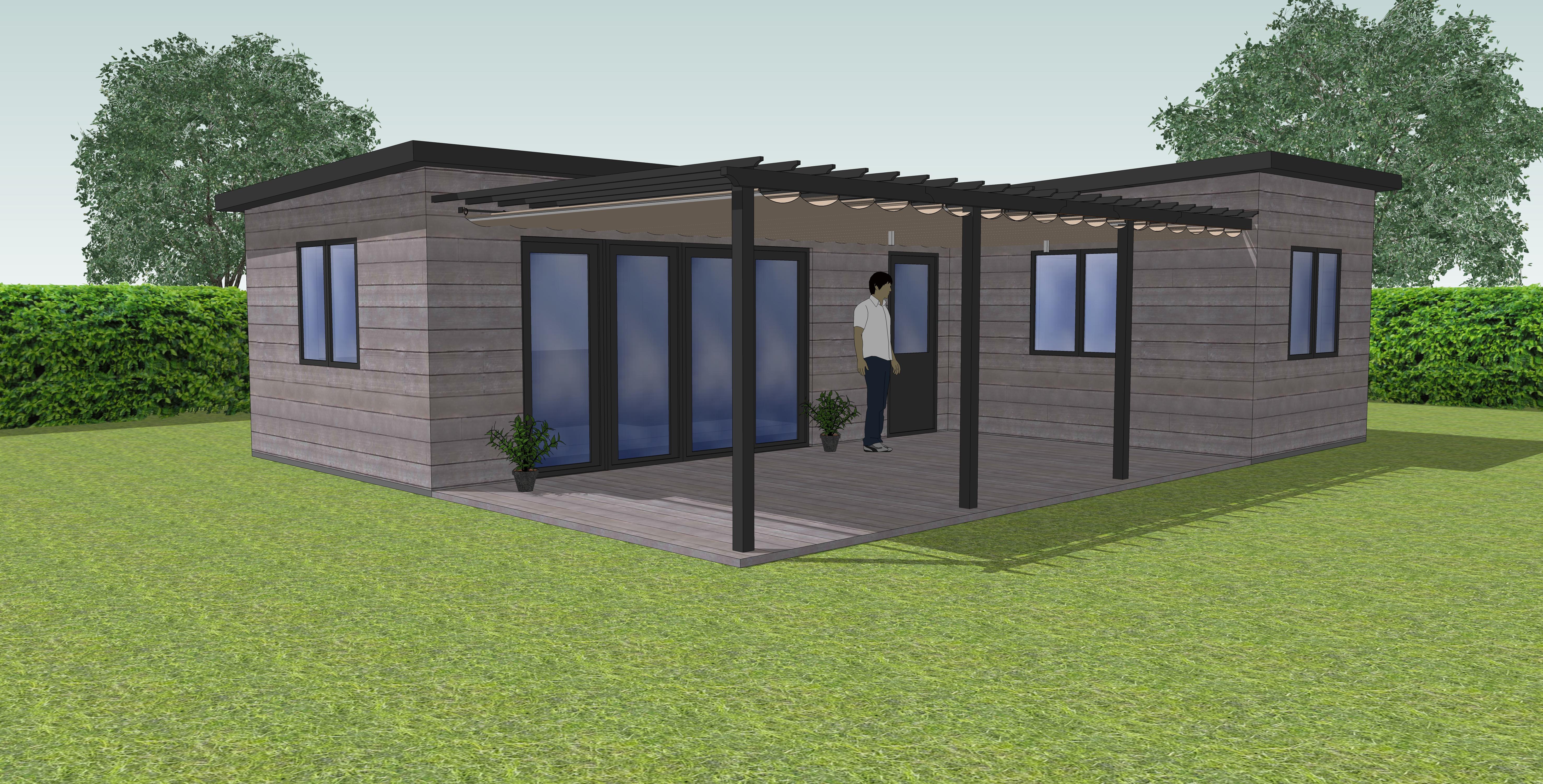 Chalet type 1 zonder dak en achtergrondpergola doek